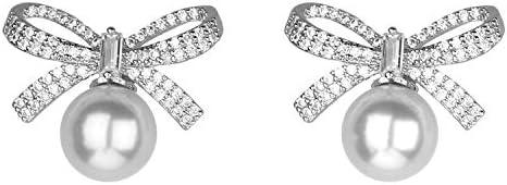 Jones New York Silver Ribbon Bow Crystal Rhinestones White Pearl Stud Earrings product image
