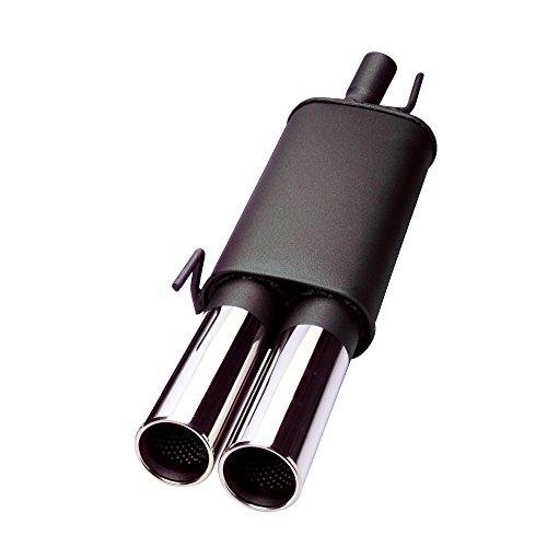 JOM Car Parts & Car Hifi GmbH 86345 Stahl Endschalldämpfer mit 2X 76mm Endrohren gerade