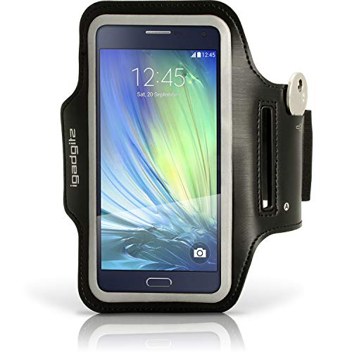 iGadgitz U3619 - Reflectantes Brazalete Deportivo Compatible con Samsung Galaxy A5 SM-A500, Correr Gimnasio Funda Carcasa con Clave Ranura, Negro