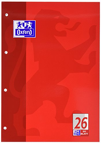 Oxford 100050351 Schulblock Linien 26 - A4, 50 Blatt, 90 g/qm, 4-fach Lochung