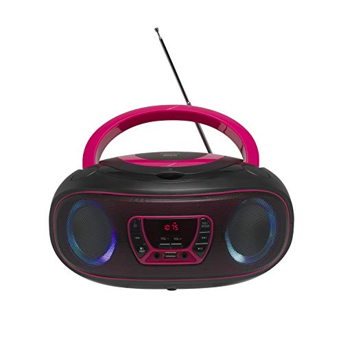 Denver Electronics TCL-212BT - CD-Player (4 W, FM, Extern, Tragbarer CD-Player, Pink, 3,5 mm)