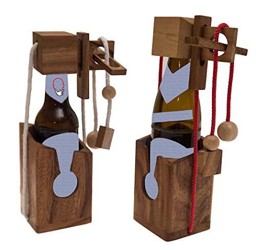 ROMBOL Flaschentresor - edler Tresor aus Holz für Bierflaschen 0,33 l (weißes Band) für 0,33 l und 0,5 l Bierflaschen (rotes Band), Bandfarbe:rot