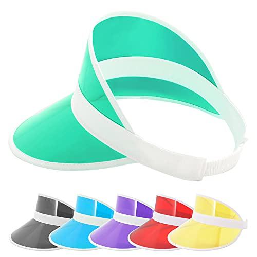 zowya Clear Sun Visor Hats for Women Men Plastic Visor Caps PVC Tennis Beach Cap UV Protection Adjustable Green Large Head, 1-Hat