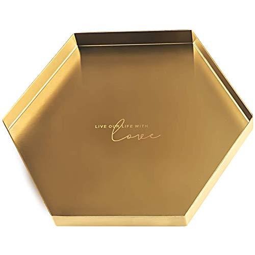 Dricar Sechseck Metall Edelstahl Schmuck Aufbewahrung Tablett, Goldene Platte Serviertabletts Buffet Aufbewahrung Platte, Make-up-Organizer Kerzenteller Tischdekoration Gold