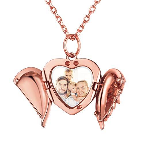 ChicSilver Bild Medaillon Rosegold Herzanhänger mit Flügel Damen Amulett mit Geschenkebox für Damen und Mädchen