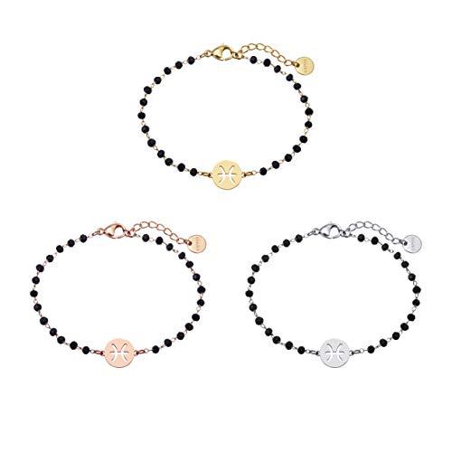 Pulsera 3 Piscis, elegante ajustable, cuentas negras para hombres y mujeres, material hipoalergénico, se puede usar como regalo de cumpleaños para niños o niñas. Oro / Plata / Oro rosa