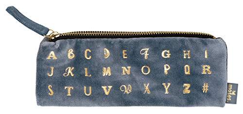 moses. Samtmäppchen Alphabet libri aus Samt in mit Goldveredelung Federmäppchen, 21 cm, Taubenblau