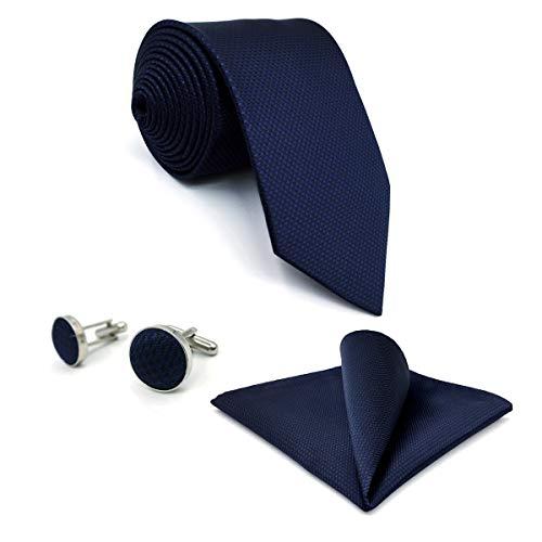 S&W SHLAX&WING Herren Krawatte Set with Einstecktücher Manschettenknöpfe