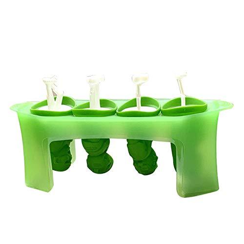 EliteMill Moldes para paletas, juego de 4 máquinas de hielo con palos, silicona flexible, fácil de quitar, suministros de cocina, forma única, diseño innovador para el hogar