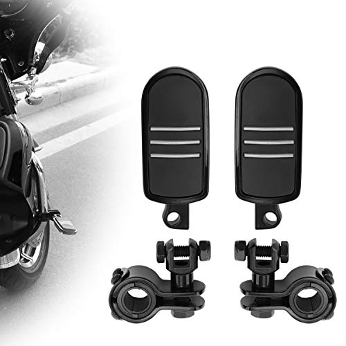 GDAUTO Highway Pegs Frame Mount for 1' to 4/3' Engine Guards Adjustable (Black) for Road King Street Glide Electra Glide Honda Suzuki Yamaha Kawasaki Goldwing Touring Models Engine Guard Foot Pegs