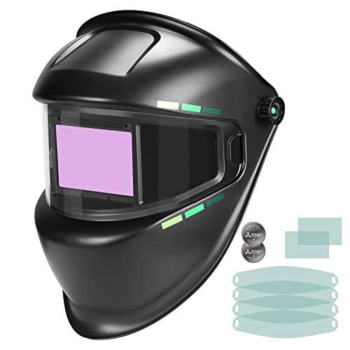 Professional Welding Helmet Solar,True Color 1/1/1/1 Large View Welding helmet auto darkening, 4 Arc Sensors Wide Shade 3/5-9/9-13 Electric welder