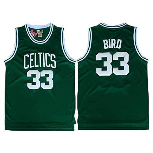BXWA-Sports Herren-Basketball Jersey, Boston Celtics #33 Larry Bird Basketball Kleidung Gestickte Mesh-Basketball Swingman Trikots Sport Tops,2,M(170~175CM/65~75KG)