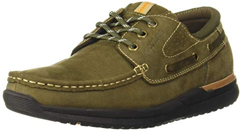 Woodland Men's Olive Leather Sneakers-8 UK (42 EU) (9 US) (GC 3203419)