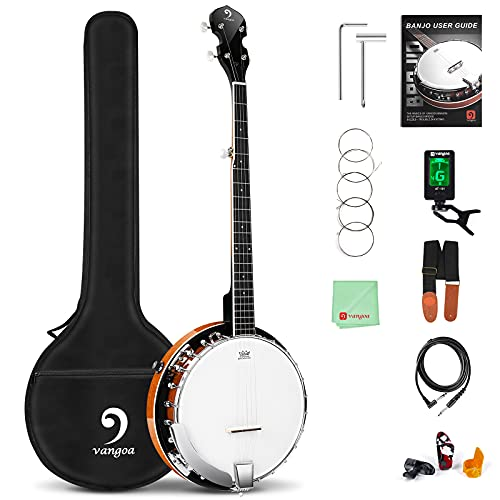 Vangoa Banjo 5 String Acoustic Electric Full Size with Mahogany Resonator, Remo Head...