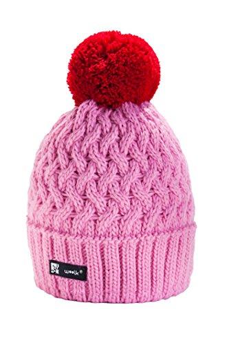 morefaz Wurm Winter Cookies Style - Gorro con ponpon para hombre y mujer rosa Talla única
