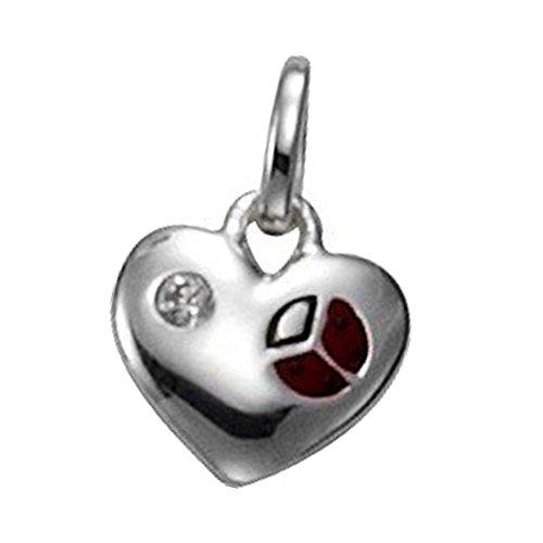 Ciondolo a forma KISMA per Collane a Forma di coccinella rosso con zirconi 925 in argento Sterling KIH0121-032