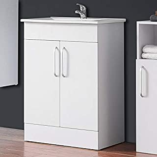 AICA sanitaire Meuble de Rangement pour Salle de Bain,Meuble Lave-Mains à Poser avec lavabo céramique, 60cm / Blanc 2 Port...