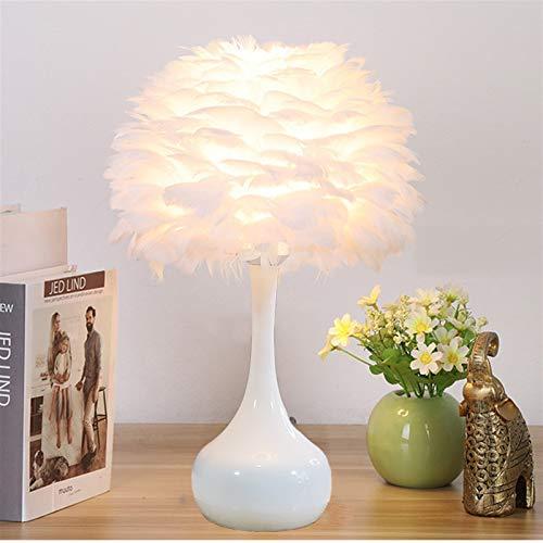 YSJJEFB Bordslampor lyxig fjäder sovrum sänglampa ins touch dimning skrivbordslampa för vardagsrum arbetsrum dekor belysning 3D (färg: Fjärrstyrd strömbrytare, lampskärm färg: Vit)
