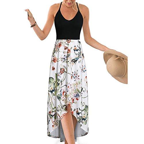 MRULIC Damen Sommerkleider Strandkleid Frauen V-Ausschnitt Ärmellos Sommer Asymmetrisch Patchwork Floral Maxi Kleider