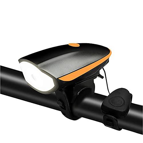 USB Luz Bicicleta,Potente Luces Bici Delantera Y Recargables Linterna Bicicleta Impermeable Focos para Bicicletas Luces Adecuado para Una Conducción Segura por La Noche (Color : Orange)