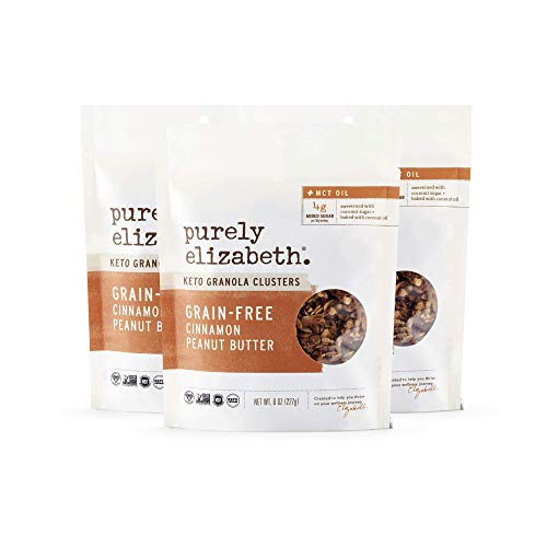 purely elizabeth Grain-Free Granola + Baked With MCT Oil - Paleo + Keto Certified - Vegan & Gluten-Free No Refined Sugar - Cinnamon Peanut Butter - 8oz