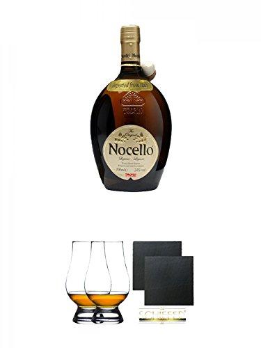 Toschi Nocello Nusslikör 0,7 Liter + The Glencairn Glas Stölzle 2 Stück + Schiefer Glasuntersetzer eckig ca. 9,5 cm Ø 2 Stück