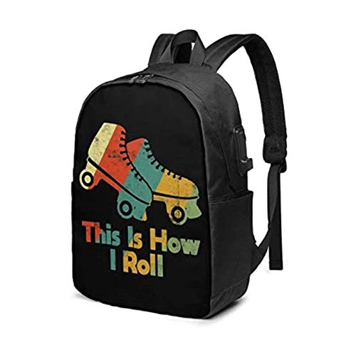 ZZYY Mochila de patinaje sobre ruedas de 17 pulgadas con portátil USB utilizado para viajes, escuela, negocios