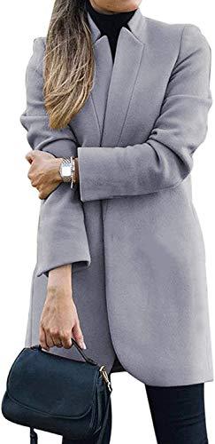 Trieskull 2020 Mujeres Gabardina Casual Medio Largo Sobretodo Solapa Abierto Frontal Delgado Ajuste Chaqueta de Invierno Chaqueta Outwear (S,B)