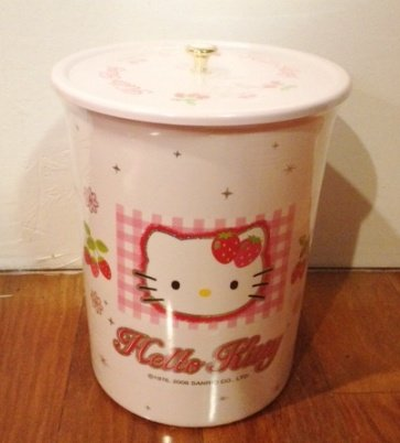 Large Sanrio Hello Kitty Trash Can 11' Tall - Round