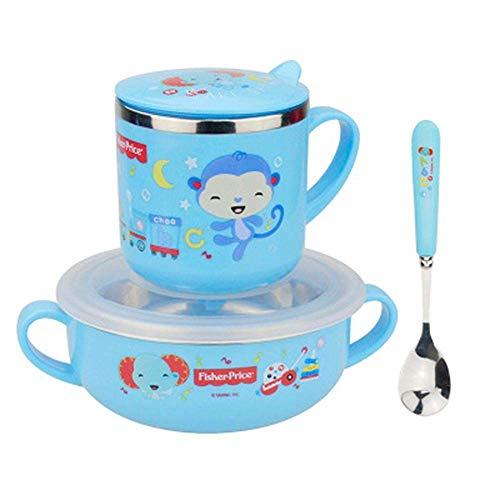 GPWDSN Juego de vajilla para Taza de Agua para niños, Acero Inoxidable, Taza de Agua antiescarcha, Cuchara binaural, Cuchara para bebé, suplemento de Comida para bebés, Herramienta para bebés (azu