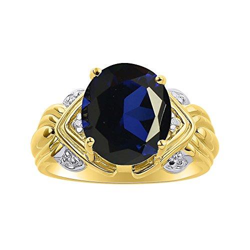 Juego de anillos de zafiro y diamante en oro amarillo de 14 quilates – 12 x 10 mm piedra de color Anillo de nacimiento