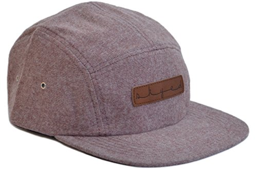 Skyed Apparel Premium 5 Panel Summit Burgundy Camper Hat with Genuine Leather Strap