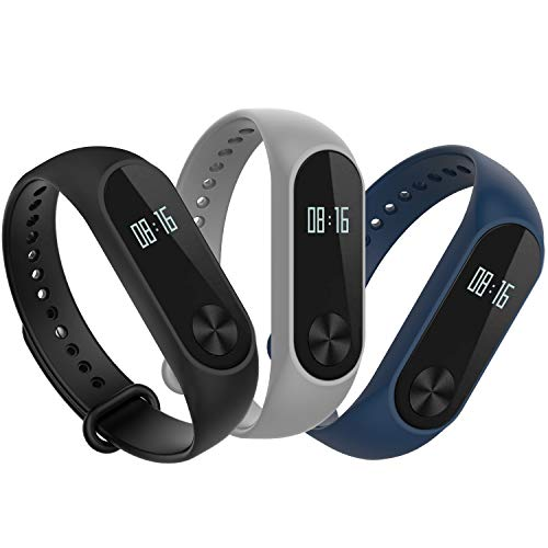 Hianjoo Correa Compatible con Xiaomi Mi Band 2, [3 Paquetes] Pulsera de Reemplazo Deportivo Suave Ajustable de Silicona Correas Compatible con Mi Band 2 [Azul + Gris + Negro]