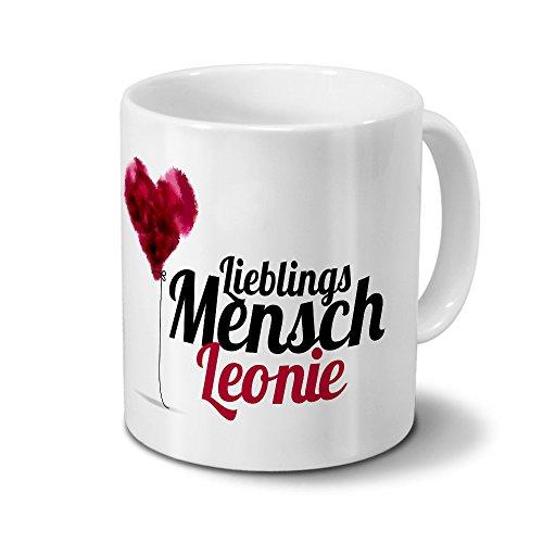 printplanet Tasse mit Namen Leonie - Motiv Lieblingsmensch - Namenstasse, Kaffeebecher, Mug, Becher, Kaffeetasse - Farbe Weiß