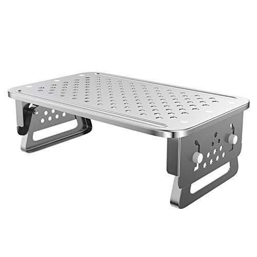 ATUMTEK Soporte para Monitor Mesa de 3 Alturas Regulable, Elevador Monitor Aluminio con Plataforma Agujereada para Ordenador, Portátil, iMac, Impresora, Proyector Pequeño,Plata