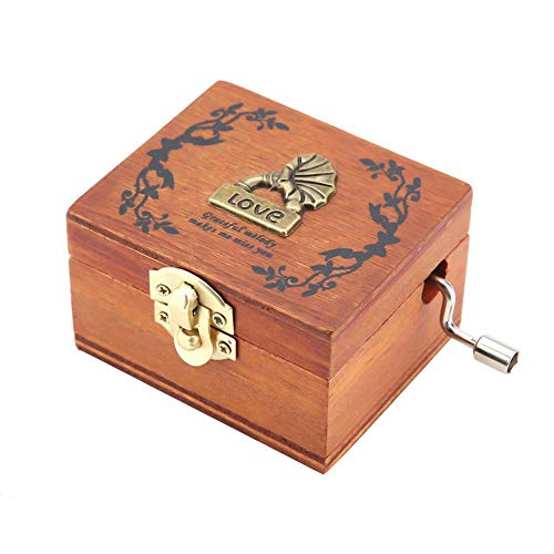 𝐂𝐡𝐫𝐢𝐬𝐭𝐦𝐚𝐬 𝐆𝐢𝐟𝐭 Music Box Musical Instrument Pattern Mini Hand-Cranked Music Box Retro Wooden Music Box Crafts Classic Best Gift Boys and Girls
