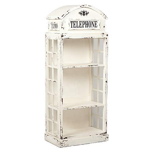 Regal London-offen Antik Weiß Mahagoni ca. H167cm Vitrine Telefonzelle Shabby