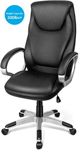 TUSY-Office Chair Desk High-Back Executive Swivel Chair Computer Chair Black with Back Support and...