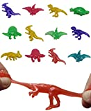 UpBrands 48 Stretchy Dinosaurs Toys 2 1/2 Inches Bulk Set, 8 Glitter Colors, Kit for Birthday Party Favors for Kids, Goodie Bags, Easter Egg Basket Stuffers, Pinata Filler, Students Rewards