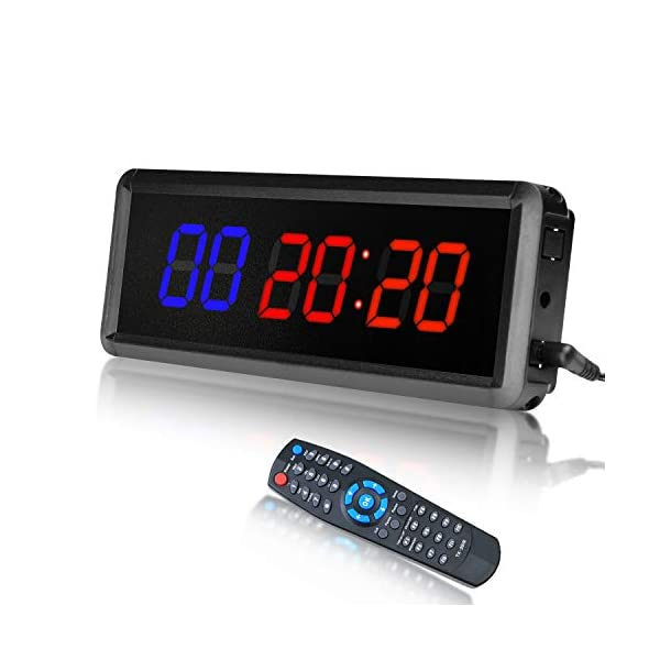 Vehipa LED Interval Timer Gym Timer Workout Timer Count Down/Up Clock Stopwatch Timer with Remote for Home Fitness