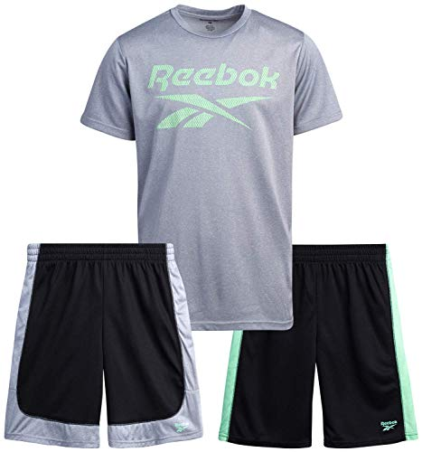 Reebok Boys 3-Piece Athletic Sports Performance Quick Dry Short Set with T-Shirt and Shorts, Size 4, Medium Heather Grey/Black