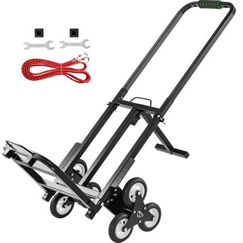 VEVOR Stair Climbing Cart 330lbs Capacity, Portable Folding Trolley with 6 Wheels, Stair Climber Hand Truck With Adjustable Handle For Pulling, All Terrain Heavy Duty Dolly Cart For Stairs(01-01)