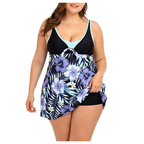 MOTOCO Damen Tankinis Polka Bikinikleid Badebekleidung V-Ausschnitt Retro Blumendruck Beachwear Badeanzug Oversize mit Boyshort für Frauen(2XL,Lila 1)