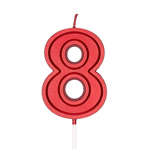 LUTER 7 cm Rosso Candele per Torte di Compleanno Candele Numerate Candele di Compleanno Cake Topper Decorazioni per Adulti per Bambini - Numero 8