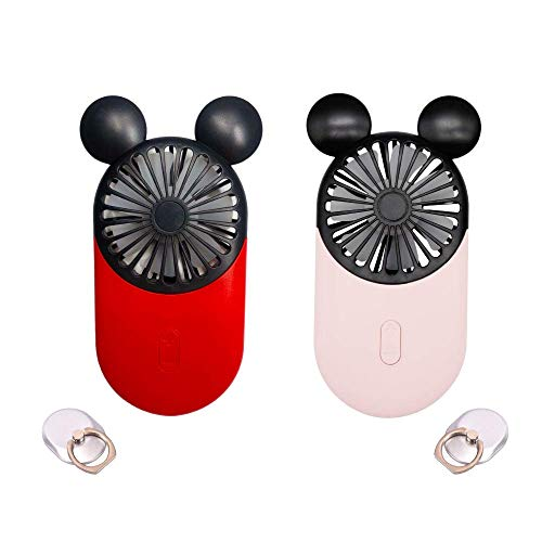 DecoLife Cute Mickey Personal Mini Fan, Handheld & Portable USB Rechargeable Fan with Beautiful LED Light, 3 Adjustable Speeds, Portable Holder, Perfect for Indoor Or Outdoor Activities (2Pcs)