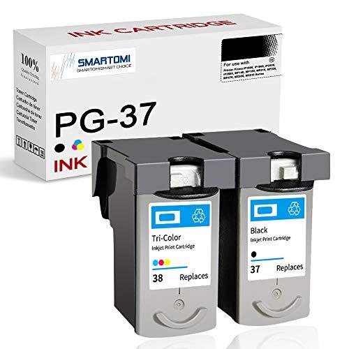 SMARTOMI Remanufacturado PG37 CL38 PG 37 CL 38 compatibles con Canon PG-37 CL-38 para Canon Pixma iP1800 iP1900 iP2500 iP2600 MP140 MP190 MP210 MP220 MP470 MX300 MX310 (1 Negro 1 Tricolor)