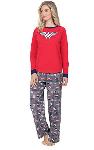 PajamaGram Wonder Woman Pajamas Adult - Women Pajamas Set, Justice League, S 4-6 Red