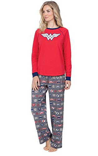 PajamaGram Wonder Woman Pajamas Adult - Women Pajamas Set, Justice League, S 4-6 Red