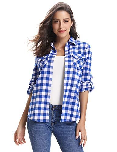 Abollria Women's Roll up Long Sleeve Boyfriend Button Down Plaid Flannel Shirt (Blue White,XL