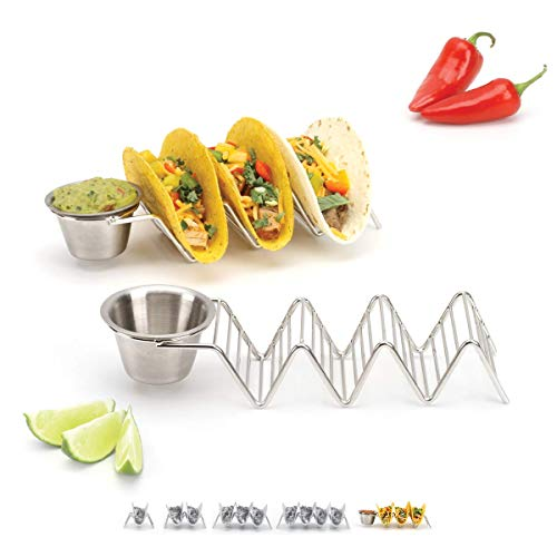 Taco Holder Stand with Salsa Cup - Chrome Finish - Premium 18/8 Stainless Steel - Holds 3 Hard Soft Tacos - Five Styles Available - Set of 2 Racks by 2lbDepot
